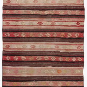 Handmade  Unique Striped Overdyed Kilim Rug 5'12'' x 9'4'' ft 182 x 284 cm  (Free Shipping)