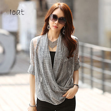 Women Mesh Patchwork Shirt Wrap Chiffon Blouse Draped Blusa With Inner Camisolel
