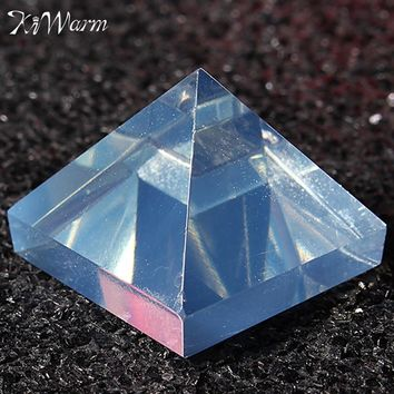 KiWarm 1PC Clear Reiki Energy Charged Pyramid Crystal Feng Shui Healing Gemstone for Home Decor Ornaments Crafts Gift 24*24*20mm