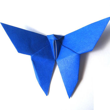 Origami Butterfly (50) Deep Blue Color , Paper Butterfly Dark Blue , or Navy Blue Wedding Decor