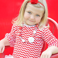Ruffle Shirt Chevron Red