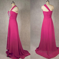 Custom made Beach One-shoulder Sweep Train Chiffon Beading Long Bridesmaid/Evening/Party/Homecoming/Prom/Formal Dresses 2013 New Arrival