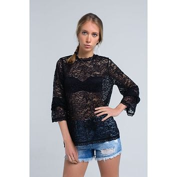 Black sheer lace top with bell sleeves