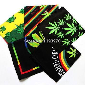 Rasta Style Reggae Music Leaves Cotton Bandana Men Pocket Square Ladies Headband Headscarf Neckerchief Handkerchief TJ9025