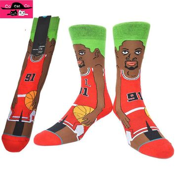 Chicago Star 91 Dennis Rodman basket Socks Men Cotton skateboard Sock Basket Star Cartoon Mens Socks