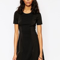 ASOS PETITE Skater Dress with High Neck and Mixed Lace Inserts