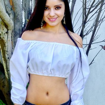 Bella Bianca White Long Sleeve Peasant Crop Top / Made in USA