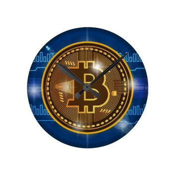 Cool Bitcoin logo and graph Design Round Clock