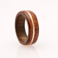 wood ring with copper inlay wooden ring wedding by aboutjewelry