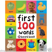 First 100 Words Children's Learning Board Book Baby Kids Crib Toy Field Bedroom
