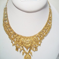 Ornate Beaded Fringed East Indian Necklace Ethnic Princess Jewelry Gold Tone