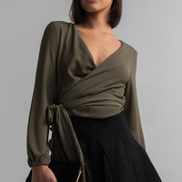 AKIRA Wrap Front Tie Lightweight Top in Black, Olive