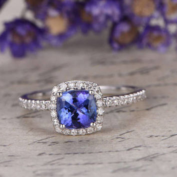 18K White Gold Blue tanzanite Engagement Ring,Cushion Cut gem wedding ring,tanzanite promise ring for her,Diamonds Halo Ring,Art desc antique