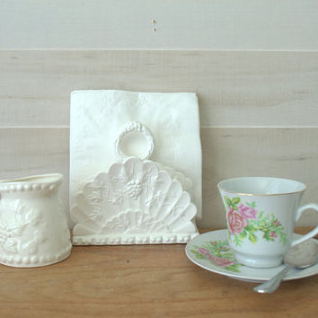 Napcoware Serving Pieces, Small Ironstone Pitcher, Bone China Milk Pitcher, Japanese Napcoware Creamer, White Napkin Holder