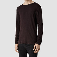 Mens Slater Long Sleeved Crew T-Shirt (LIQUORICE) | ALLSAINTS.com