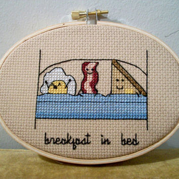 Breakfast In Bed cross stitch -- cute egg, bacon and buttered toast in bed