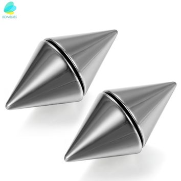 BONISKISS Silver-tone 316L Stainless Men's Magnetic No Piercing Double Side Rivet Ear Stud Fake Plug Cheater