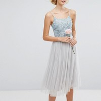 Maya Tall Embellished Top Midi Dress With Full Tulle Prom Skirt at asos.com