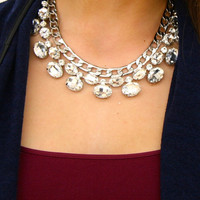 Oval Crystal Statement Necklace
