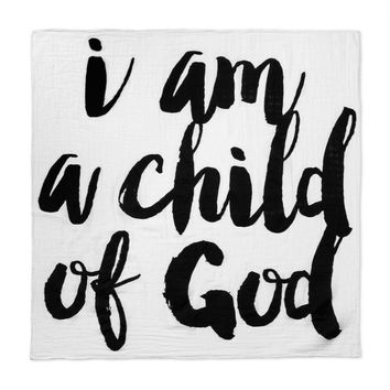 I Am A Child Of God Baby Blankets Newborn Swaddle Wrap Muslin Blanket Kids Boy Girl Letters Cobertor Infantil mantas fotografia
