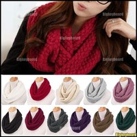 New Women Girls Knitted Long Wool Circle Scarf Shawl Wrap Neck Warmer