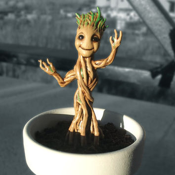 Baby Groot with Base Resin Figurine 3D print and paint high detail resin Guardian of the galaxy cute tree