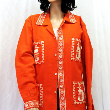 Vintage Guatemalan jacket / blazer / size M / L / orange woven cotton tribal ethnic jacket / white peacock hand embroidered / Paulina's