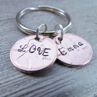 2 Penny Key Chain Hand Stamped Charm Custom Name Lucky Personalized For You Key Ring 1950 to 2014 Pennies