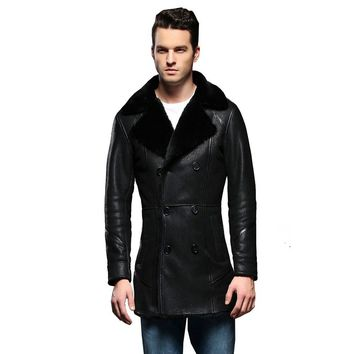 Guaranteed Real Sheepskin Fur Coat Genuine Full Pelt Sheep Shearling Double Breasted Male Winter Jacket Black Men Fur Outwear