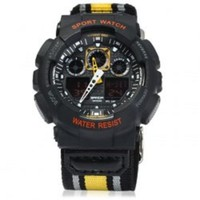 New Men's Black & Yellow Canvas Band Water Resist Military Digital Sports Watch