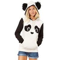 Meilaier Women's Cute Panda Print White and Black Fleece Hoodie Tops (M)