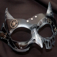 Made To Order -- SteamOwl Black Leather Steampunk Owl Cosplay Mask