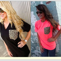 Summer Plus Size Short Sleeve Leopard Mosaic Tops Women's Fashion T-shirts [4919491012]