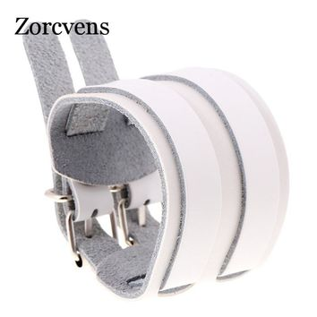 ZORCVENS Men Women Genuine Leather Wrap Bracelet Wristband Cuff Cowhide Wide Leather Bangles Double Belt Buckle Hand Jewelry