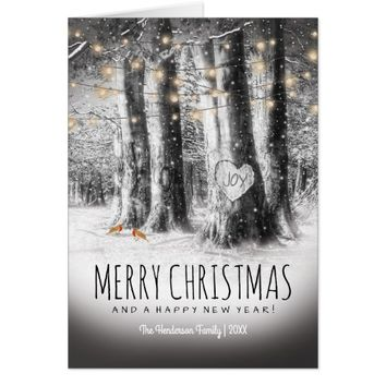 Rustic Winter Christmas, Robins & String Lights Card