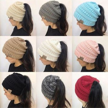 VONEC2O New women hat CC Trendy Warm Oversized Chunky Soft Oversized Cable Knit Slouchy Beanie [2974244213]