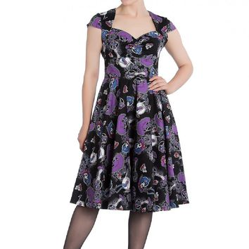 Hell Bunny Graciela 50''s Dress Day Of The Dead skeletons