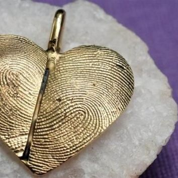 14kt Gold Fingerprint Thumbprint Heart Necklace by rockmyworldinc