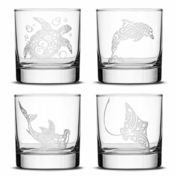 Set of 4, Premium Sea Animal Whiskey Glasses, Sea Turtle, Dolphin, Hammerhead Shark, Eagle Ray, Made in USA, Hand Etched Tribal Design