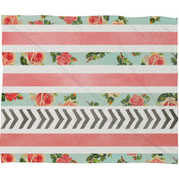 Allyson Johnson Floral Stripes And Arrows Fleece Throw Blanket