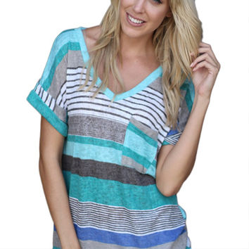 Fashion O-Neck T-Shirt Printed Tops Tee Shirt Femme Pocket Striped Shirt For Women Plus Size Hot Hot