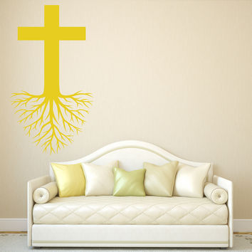Wall Stickers Vinyl Decal Holy Cross Roots Religion Christianity Unique Gift (z2007)