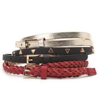 With Love From CA 3 Pack Skinny Stud Metallic Belts at PacSun.com