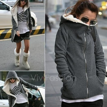 Fashion Women's Zip Up Tops Hoodie Coat Jacket Outerwear Sweatshirt VVF = 1930419844
