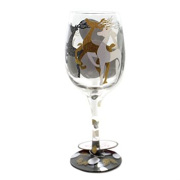 Tabletop VISIONS OF REINDEER Glass Lolita Xmas Wine Glass 6002984