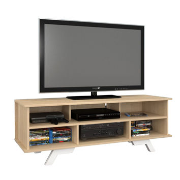 Beaumont 6-Shelf 54-inch TV Stand - Natural Maple/White