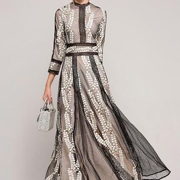New Arrival 2018 Spring Women's O Neck 3/4 Sleeves Embroidery Palka Dots Elegant Maxi Prom Runway Dresses