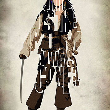 Captain Jack Sparrow Print - Johnny Depp as Jack Sparrow from Pirates of Caribbean - Minimalist Illustration Typography Art Print & Poster