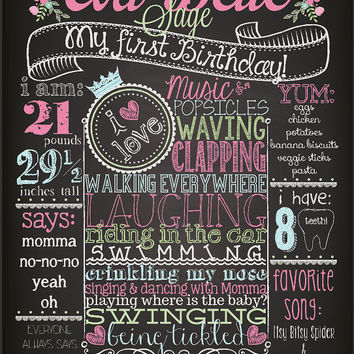 SHABBY CHIC VINTAGE Customized Chalkboard First Second Third Fourth Fifth Birthday Poster - Girl