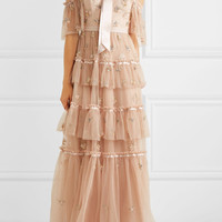 Needle & Thread - Lumiere cold-shoulder ruffled embellished tulle gown